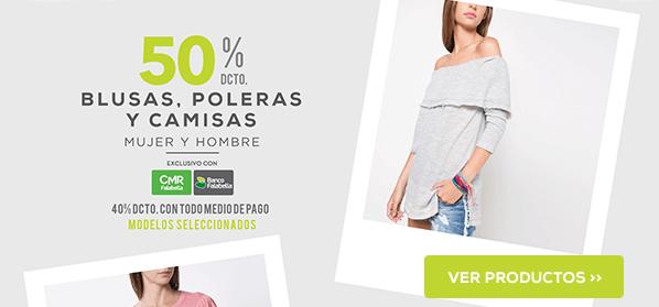 50% en blusas, poleras y camisas
