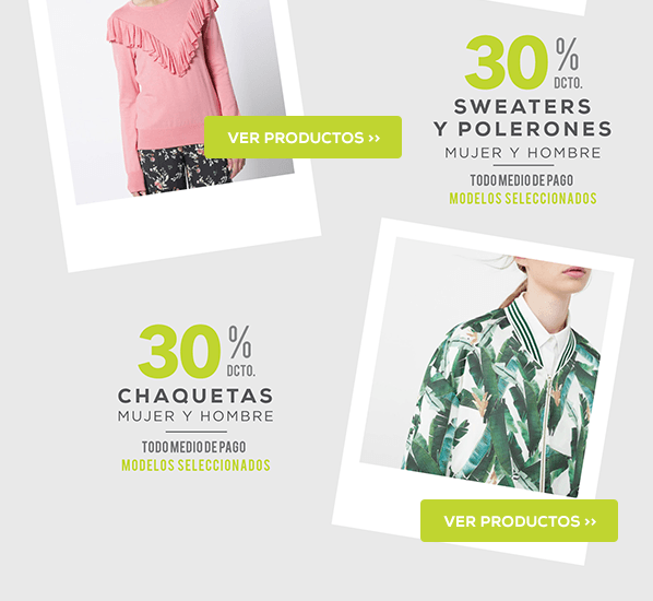 30% en sweaters, polerones y chaquetas